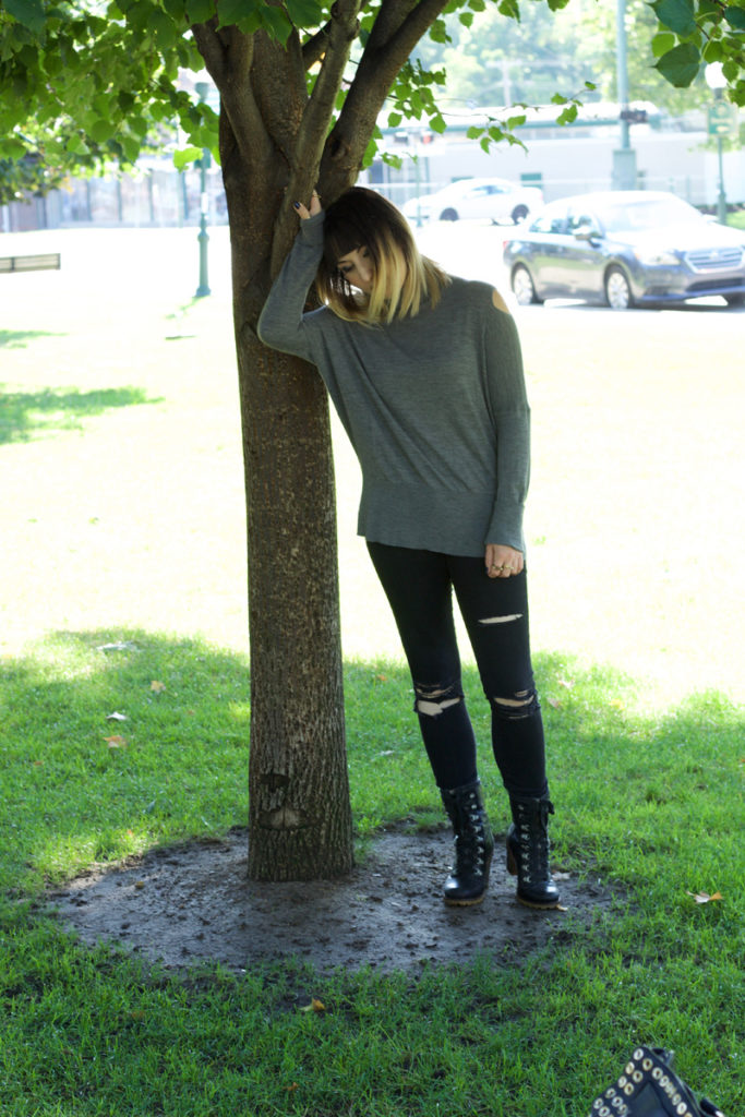 Split Shoulder Turtleneck Sweater, H Stone (Vince), Black Distressed Jeans (Pistola), Combat Boots (Ugg Australia)