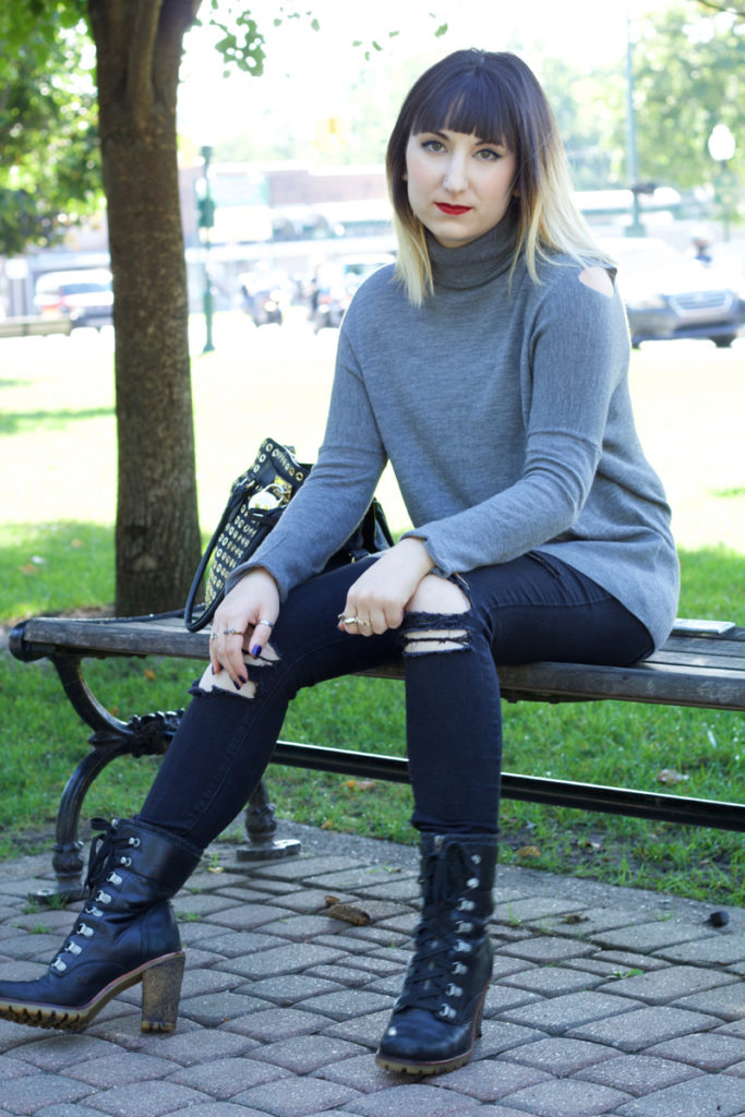 Split Shoulder Turtleneck, H Stone (Vince), Black Distressed Jeans (Pistola), Combat Boots (Ugg Australia)
