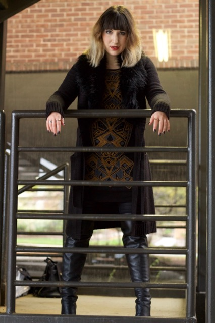Faux Fur Sweater (MICHAEL Michael Kors), Bodycon Dress (Free People), Sabrina Leather Over-the-Knee Boot (Michael Kors), Small Moldable Fangs (Hot Topic)