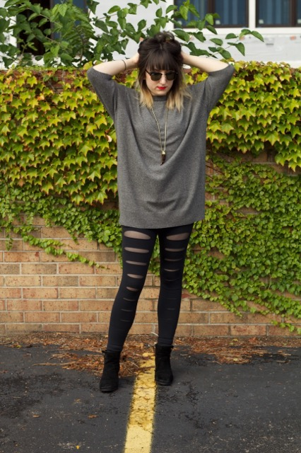 Cashmere Slouch Sweater (Vince), Incise Legging (Solow), Tortoise Print Horn Necklace (Michael Kors), Suede Sabe Booties (Tory Burch), Clubmaster Sunglasses (Ray-Ban)