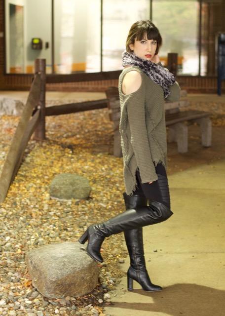 Cold Shoulder Sweater (Free People), Moto Legging (Alo Yoga), Sabrina Leather Over-the-Knee Boot (Michael Kors), Faux Fur Circle Scarf (Merona)