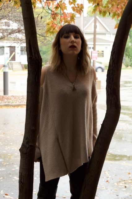 Able Open Shoulder Sweater- Quartz (ALLSAINTS), Moto Legging (Alo Yoga), Deathly Hallows Necklace (Hot Topic)