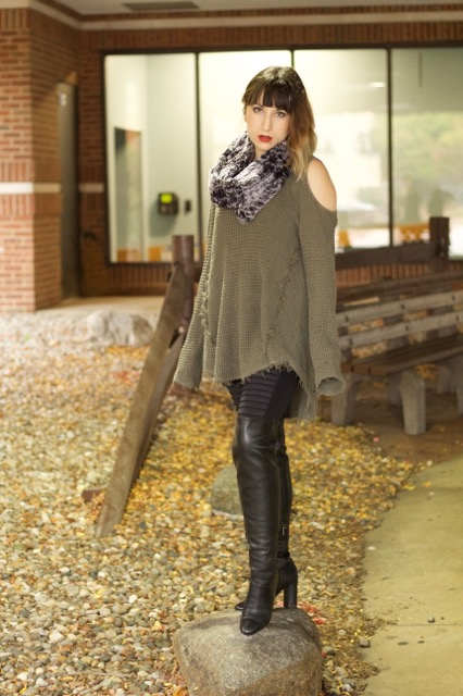 Cold Shoulder Sweater (Free People), Moto Legging (Alo Yoga), Sabrina Leather Over-the-Knee Boot (Michael Kors), Faux Fur Circle Scarf (Merona)