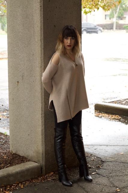 Able Open Shoulder Sweater- Quartz (ALLSAINTS), Moto Legging (Alo Yoga), Deathly Hallows Necklace (Hot Topic)
